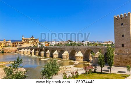 Ancient Roman Bridge Entrance Calahorra Tower Puerta del Puente Mezquita River Guadalquivir Cordoba Spain  Roman bridge was built in the 1st Century BC.