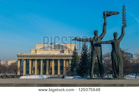 Labor Monument and Opera House in Novosibirsk
