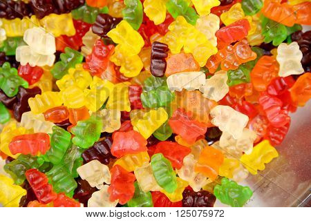 Group of colorful gummy bears or jellybears candies
