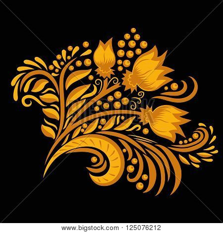 Khokhloma decorated gold ornament on black background. Design element. Illustration for greeting cards, invitations, and other printing projects.