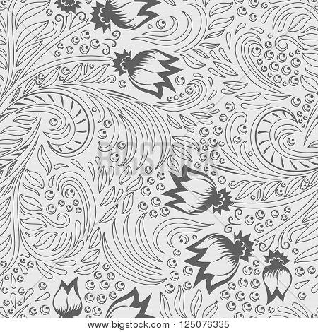 Khokhloma decorated grey seamless texture line art