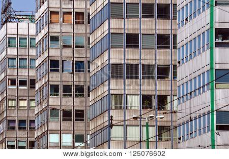 Fragments of modern office buildings in Poznan