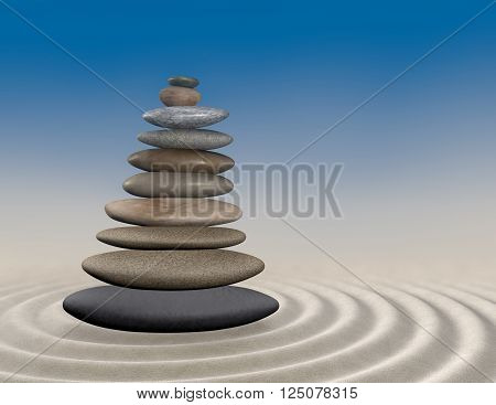 Zen garden background with pebbles on sand.