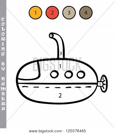 funny coloring by numbers educational kids game. Vector illustration coloring by numbers educational kids game of cartoon submarine for kids
