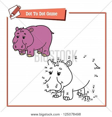 dot to dot hippo educational game. Vector illustration educational game of dot to dot puzzle with happy cartoon hippo for children