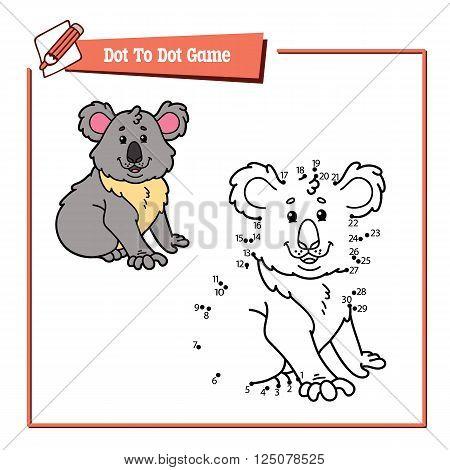 dot to dot koala educational game. Vector illustration educational game of dot to dot puzzle with happy cartoon koala for children