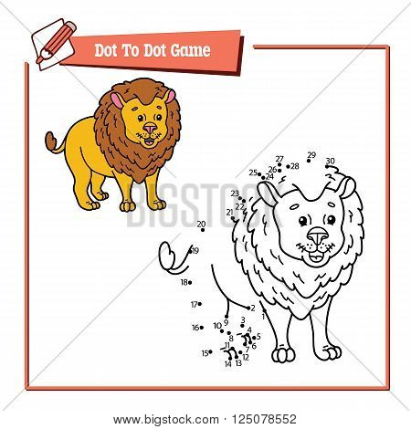dot to dot lion educational game. Vector illustration educational game of dot to dot puzzle with happy cartoon lion for children