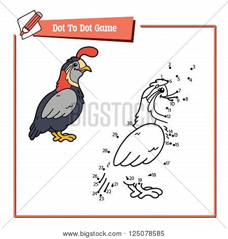 dot to dot quail educational game. Vector illustration educational game of dot to dot puzzle with happy cartoon quail for children