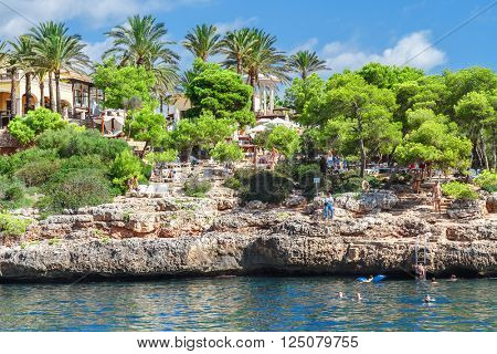 Mallorca, Spain - 7 September, 2015: Rocky beaches on the island of Mallorca. Mallorca is a popular Spanish resort.