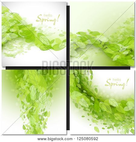 Set of Fresh spring green grass leaves frame template with white frame. Hello Spring design vector illustration