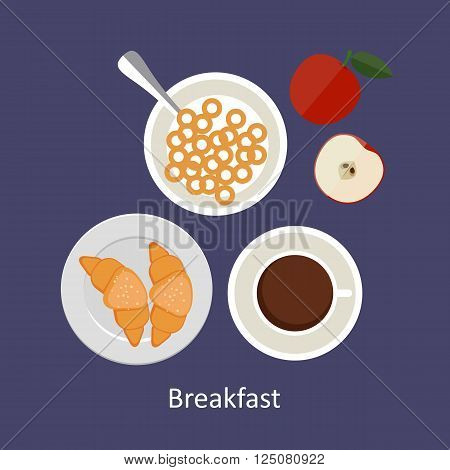 Flat design illustration concepts for French breakfast breakfast time.
