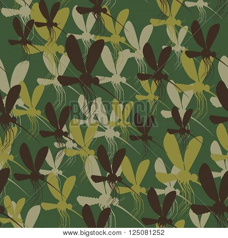 Military camouflage background mosquitoes. Insects Protective seamless pattern. Army soldier texture for clothes. Ornament for hunter. Roy mosquito Soldier khaki ornament