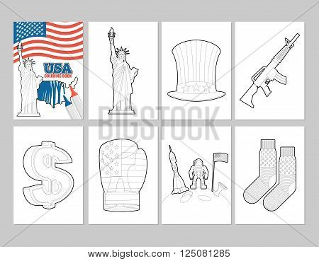 Usa Coloring Book. Patriotic Illustrations In Linear Style Of Painting. Statue Of Liberty And Uncle