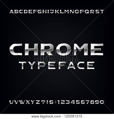 Chrome Alphabet Vector Font. Modern metallic bold letters and numbers on the dark background. Stock vector typeface for your design.
