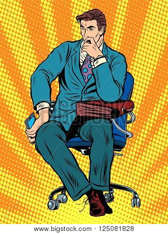 thoughtful businessman sitting in chair pop art retro style. Businessman with bag. To think