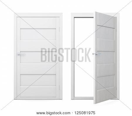 Two doors isolated on white background. 3d rendering.