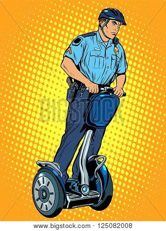 Police patrol electric scooter pop art retro style. The work of the police. Crime law and order.