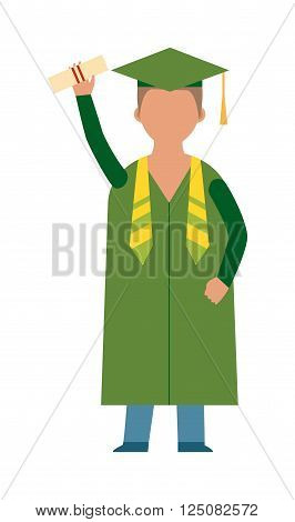 Graduation education people successful graduate students knowledge school university college graduation people infographic concept. Happy graduation people icons uniform throwing caps vector. Education people, flat school people