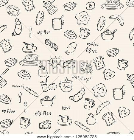 Various Breakfast items seamless vector pattern. Hand drawn breakfast  symbols.