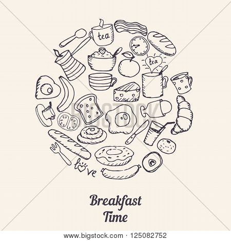 Hand drawn breakfast symbols in the shape of circle. Breakfast time.