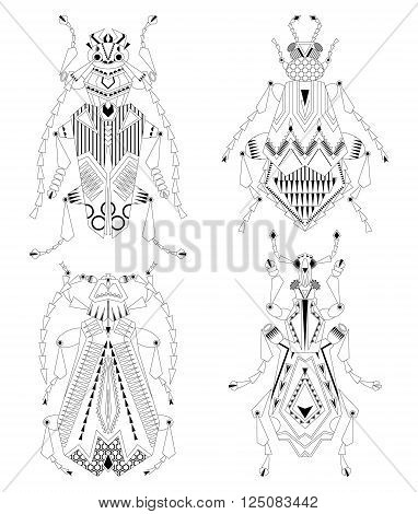 Set of 4 various insects. Black and white. Vector illustration
