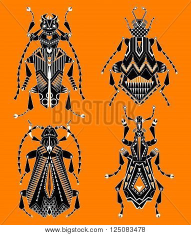 Set of 4 assorted black and white insects on an orange background. Vector illustration