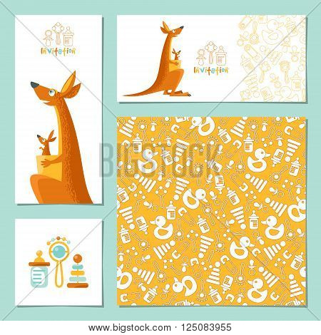 Set of 4 universal invitation cards with a kangaroo and a baby kangaroo. Template. Party birthday baby shower. Vector illustration