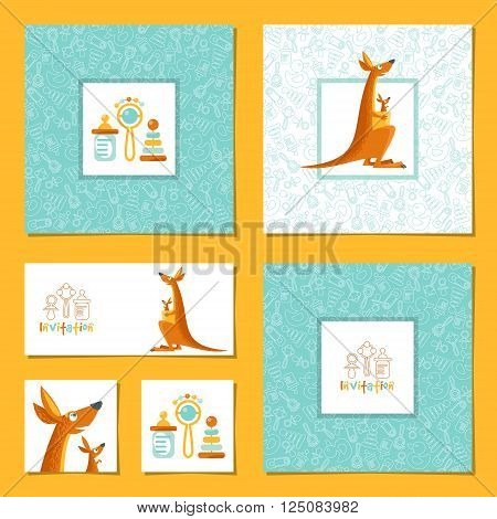 Set of 6 universal invitation cards with a kangaroo and a baby kangaroo. Template. Party birthday baby shower. Vector illustration