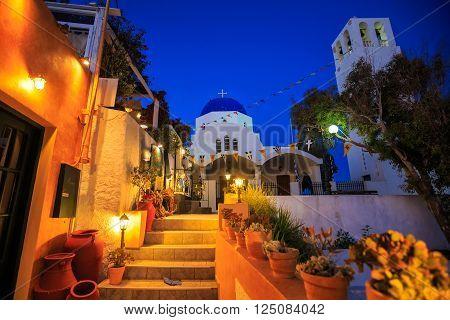 Typical greek church in the night , Thira, Santorini