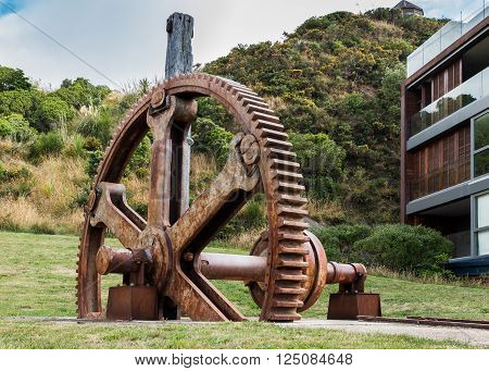 This old big gear wheel was used to pull ships out of Evans Bay Wellington New Zealand.