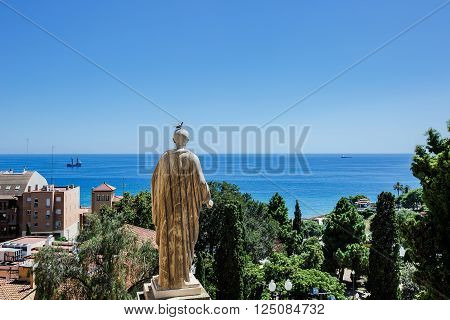 The view from behind the sculpture of Augustus, near the palace of the Roman governor of the Mediterranean Sea. Tarragona, Catalonia, Spain