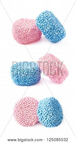 Pink and blue gelatin based cylinder shaped candies composition, isolated over the white background, set of three different foreshortenings