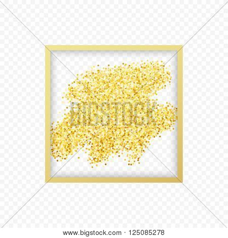 Gold placer . Gold in the frame. Gold glitters . Metal gold. Gold Dust . Gold isolation. Golden sand. Handful of gold . Yellow gold,