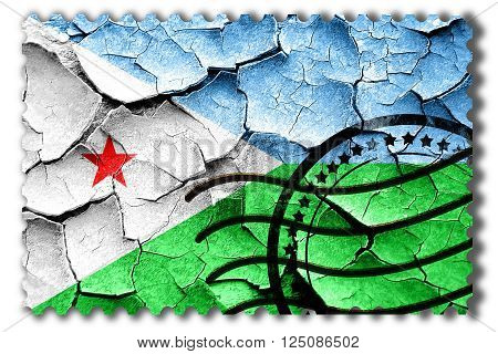 Postal stamp: Grunge Djibouti flag with some cracks and vintage look