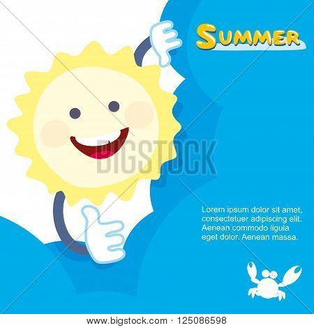Sun smiling hides behind a cloud. Vector illustration