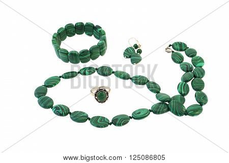 Necklace, bracelet, earrings and ring set in silver and malachite