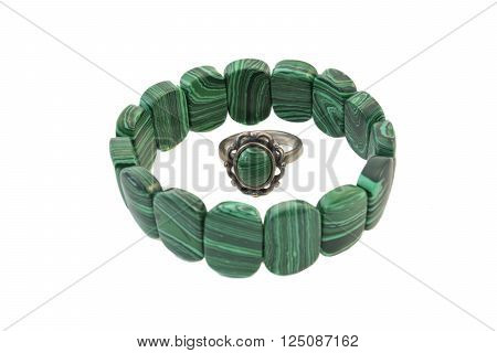 Bracelet and ring from silver and malachite