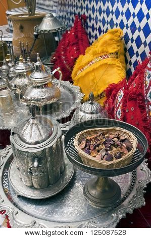 Moroccan silver tea party pots