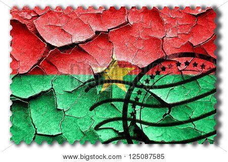 Postal stamp: Grunge Burkina Faso flag with some cracks and vintage look