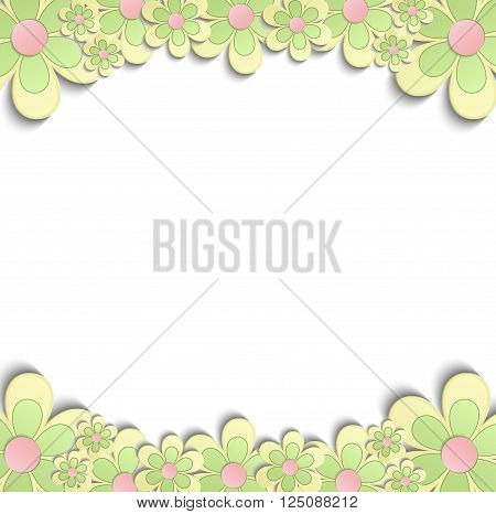 Flowers Spring border 3D yellow green pink vector