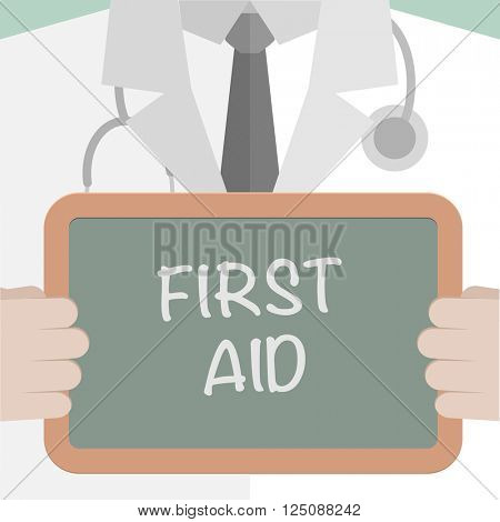 minimalistic illustration of a doctor holding a blackboard with First Aid text, eps10 vector