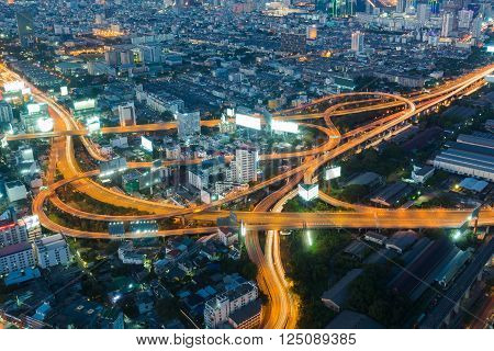 Highest Aerial view of Bangkok Highway interchanged at Dusk in Thailand
