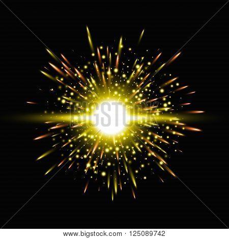 Star burst with sparkles, Glow light effect, Vector illustration on black background