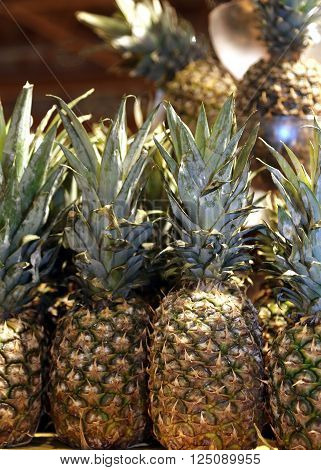 Fresh Pineapple For Sale In The Local Fruit Market