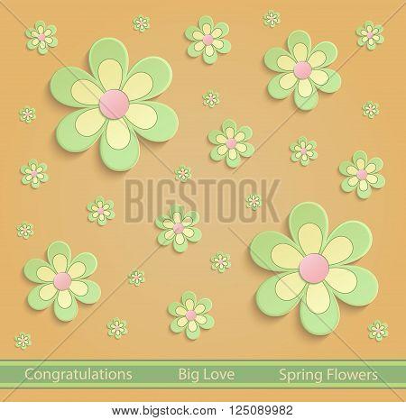 Flowers Spring paper 3D orange green vector