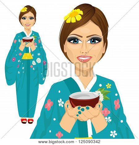 Japanese pretty woman wearing kimono holding a cup of green tea isolated on white background
