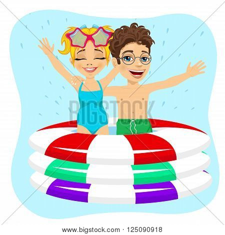 cute little brother and sister swimming in inflatable pool isolated on blue background