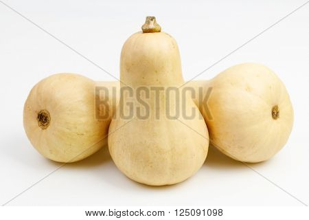 Three butternut squash fruits, on white background.