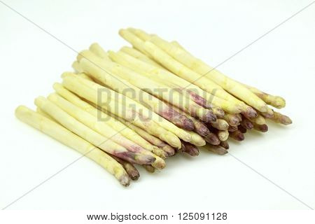 Some fresh white asparagus, on white background.