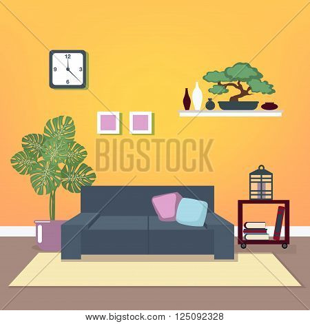 Modern Interior. Living Room. Room Design. Minimalism Style. Room with Furniture. Vector illustration